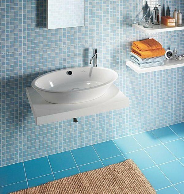 Regale Fliesen Waschbecken Badezimmer Mosaik Blau