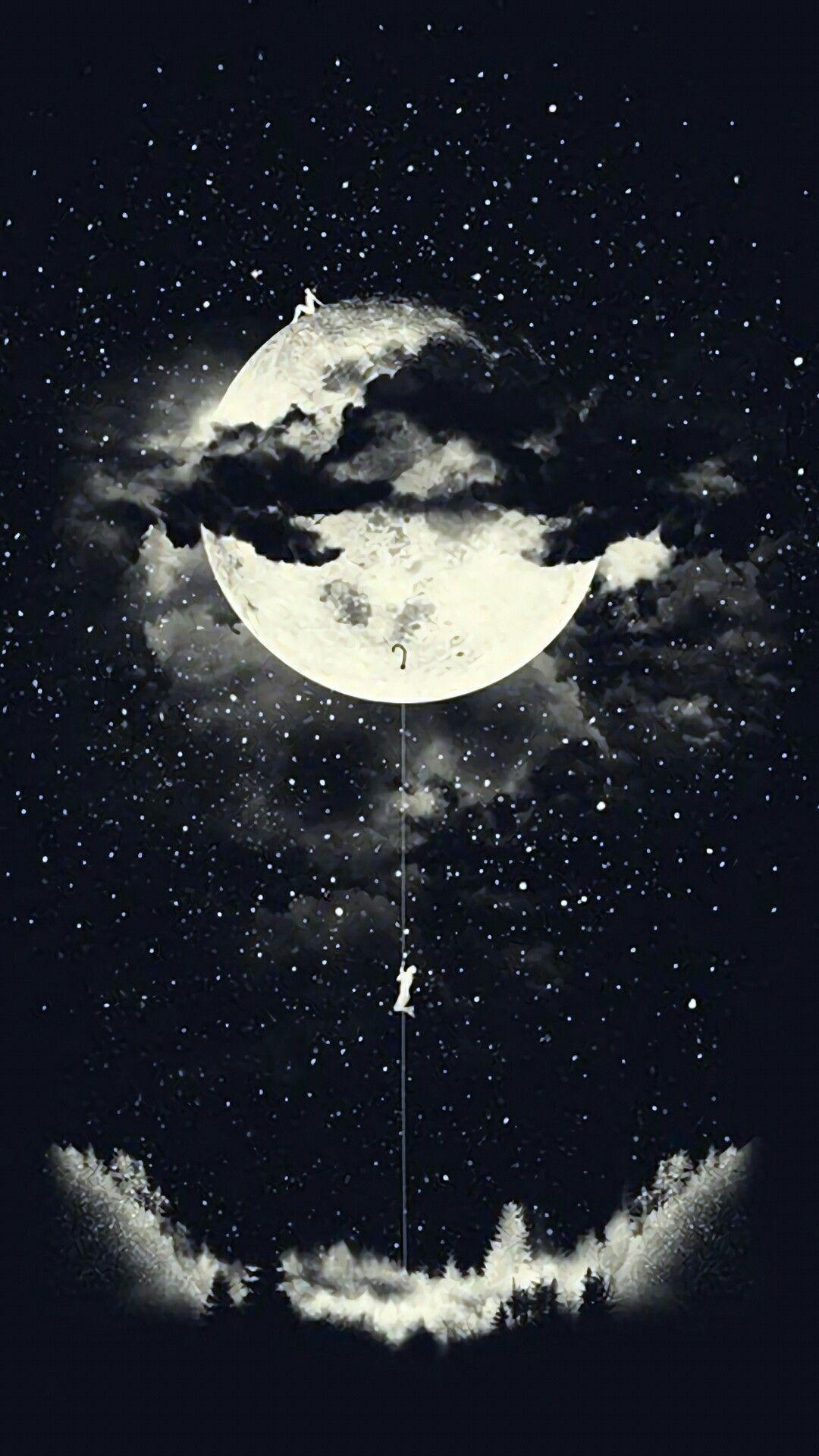 ước Vọng Tầm Thường Moon Art Dark Wallpaper Art Wallpaper