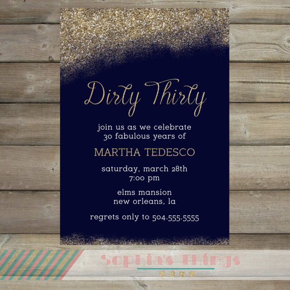 Dirty Thirty Party Invitation Printable Sweet Sixteen Gold Glitter