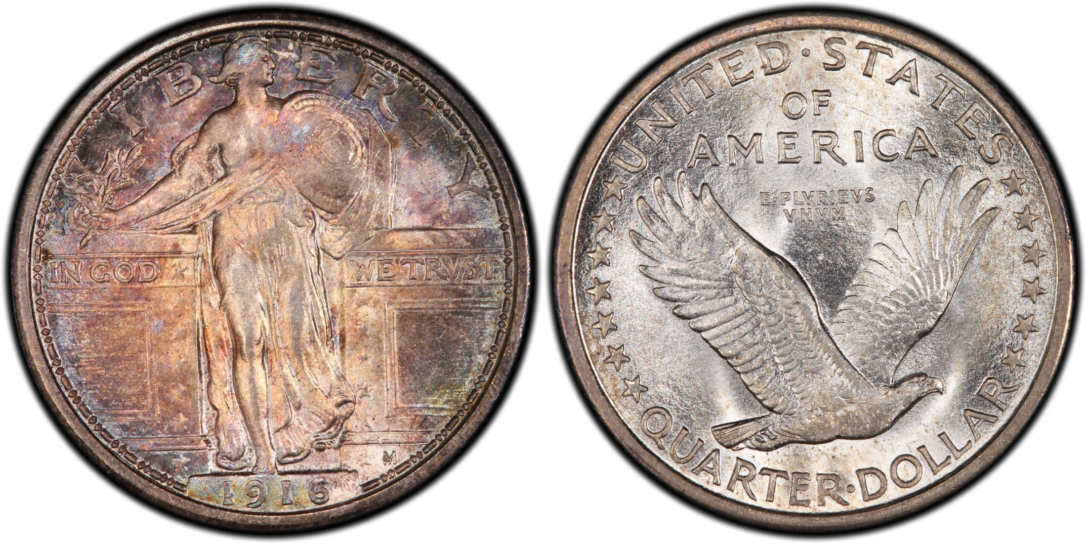 1916 Standing Liberty Quarter Dollar- One of the rarer American coins, it is also one of the most beautiful designs ever crafted by the US mint. Production of the quarter was limited to Philadelphia and only happened during half of the year because the mint was still producing barber quarters that year. PCGS estimates that only 10,000 coins have survived. An AU55 example sold recently for $11,000, but the coin in the image is worth upwards of $35,000.