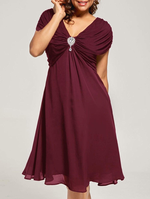 Plus size ruched cap sleeve chiffon dress chiffon dress cap and st
