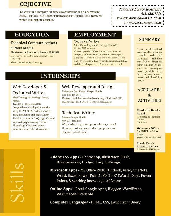 Technical Writing Resume Prepossessing Resume Job Hunt Career Search #resumedesign Technical Writer .
