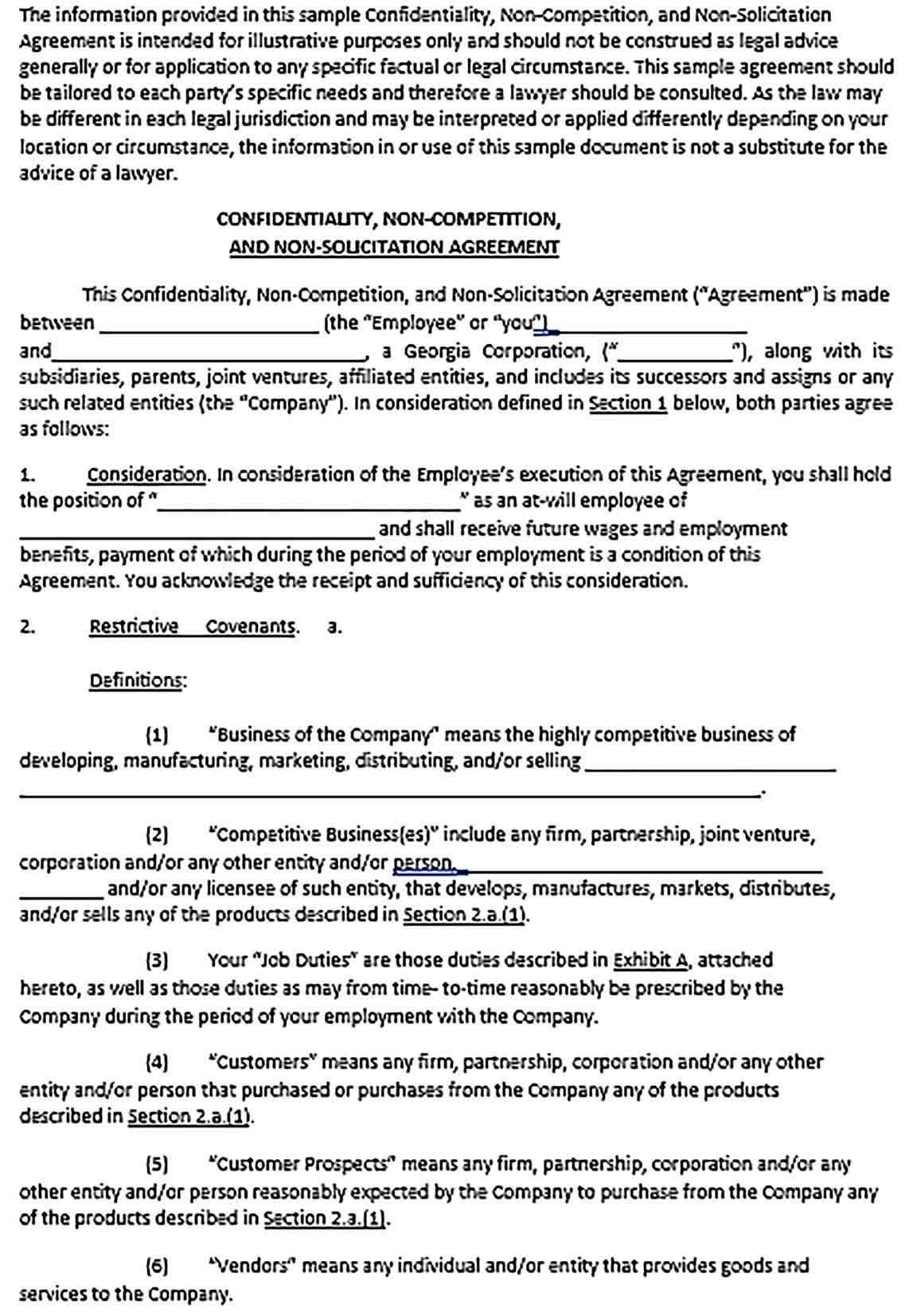 Confidentiality Agreement Forms Template Sample Agreement Form Business Template Templates
