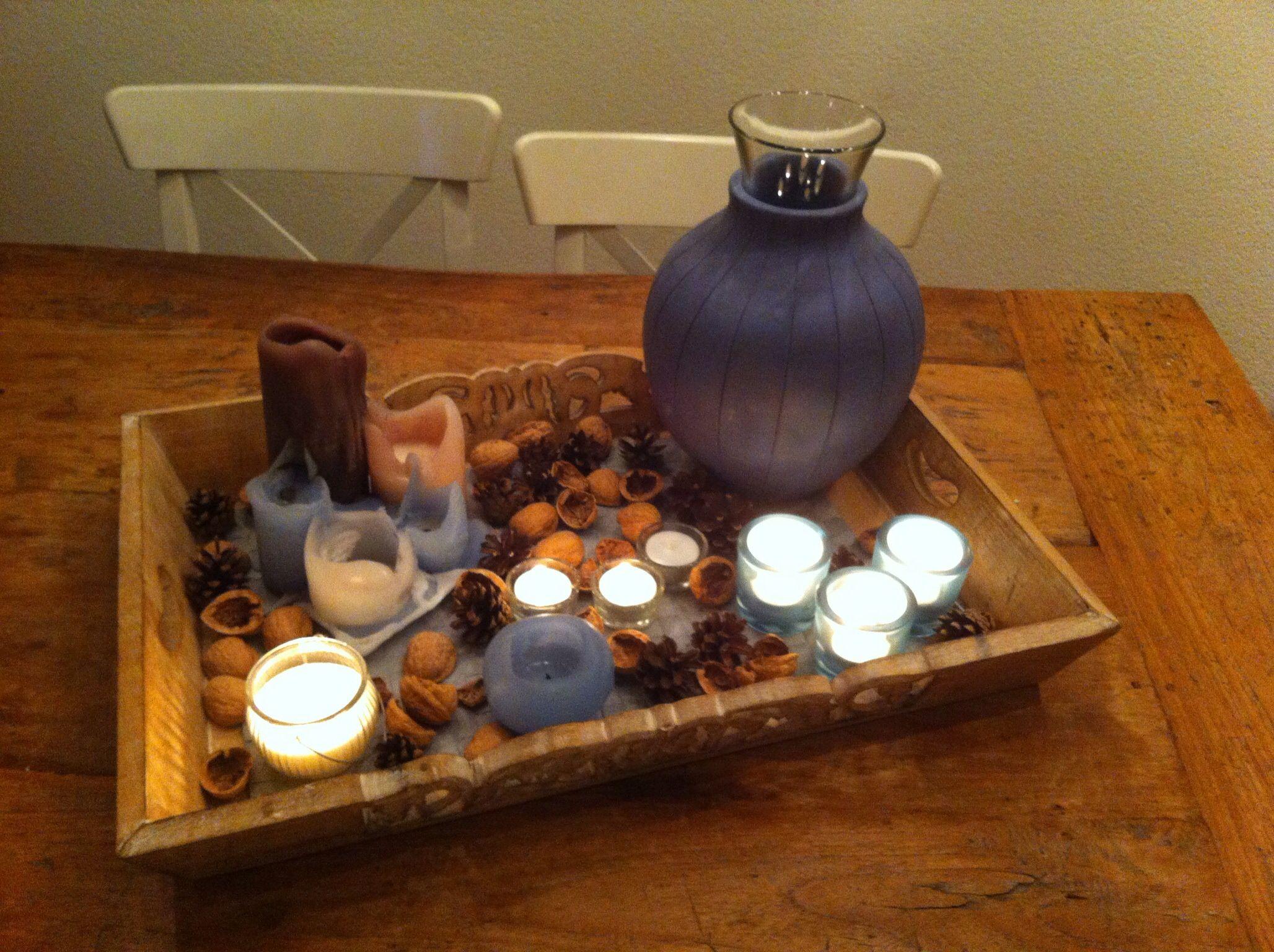 Herfst dienblad kaarsen op tafel at home eigen dingen pinterest kaarsen herfst en - Oude huisdecoratie ...