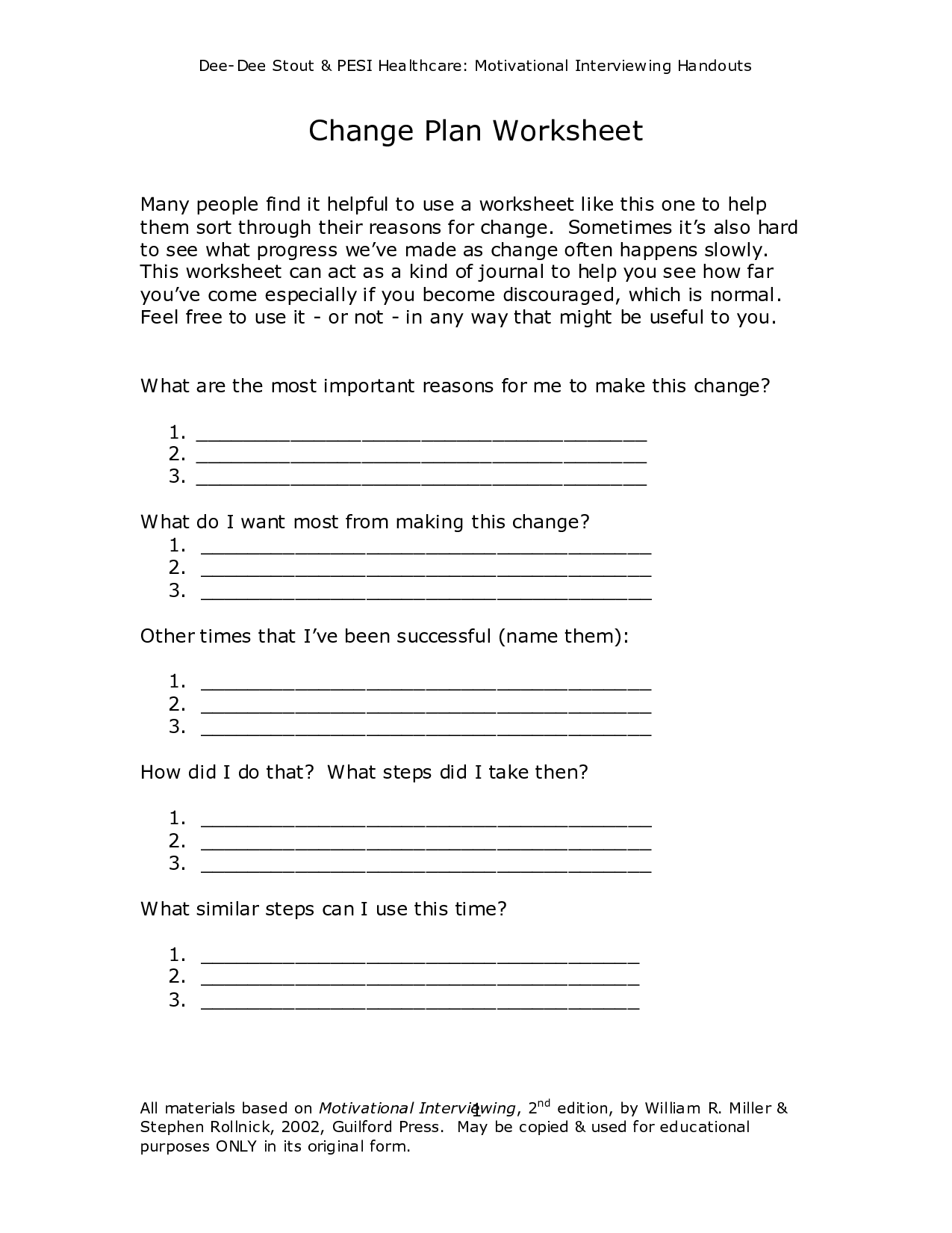 worksheeto postpic 2012 02 motivationalinterviewing – Change Plan Worksheet