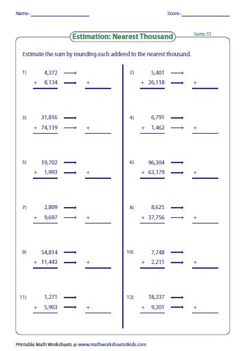 estimate the sum to the nearest sum estimation worksheets fractions worksheets multiplying. Black Bedroom Furniture Sets. Home Design Ideas
