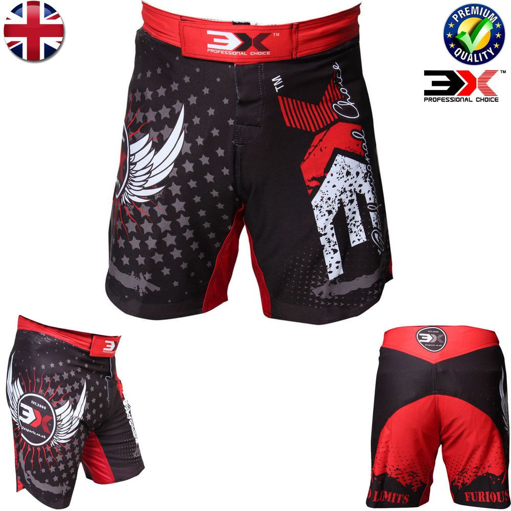 MMA Shorts Grappling Kick Boxing Mens Muay Thai ufc Cage Fight Trunks Training