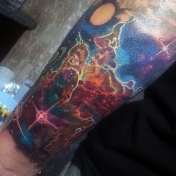 Mens Artistic Universe Tattoo Forearms