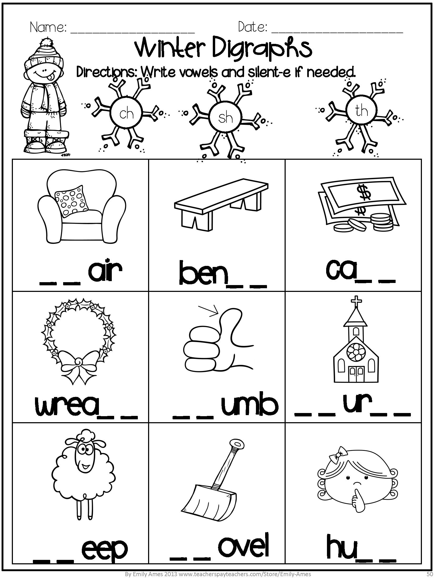 Winter Math And Word Fun Digraphs Addition Subtraction Blends Short Vowels Long Vowels Silent E Ski Teaching Phonics Kindergarten Worksheets Winter Math