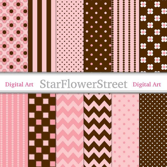 Peachy Pink & Brown Digital Paper for Girls - peach pink chocolate brown polka dot chevron flower striped scrapbook background