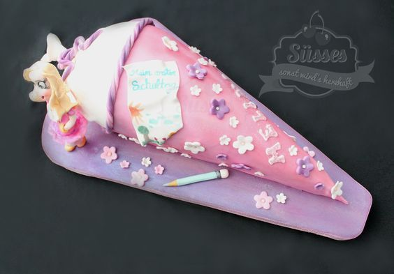 einschulungstorte, torte für einschulung, schultütentorte, kuchen in schultütenform, gumpaste, fondant, torte mit fondant, cake for girls, torte für mädchen #fondant