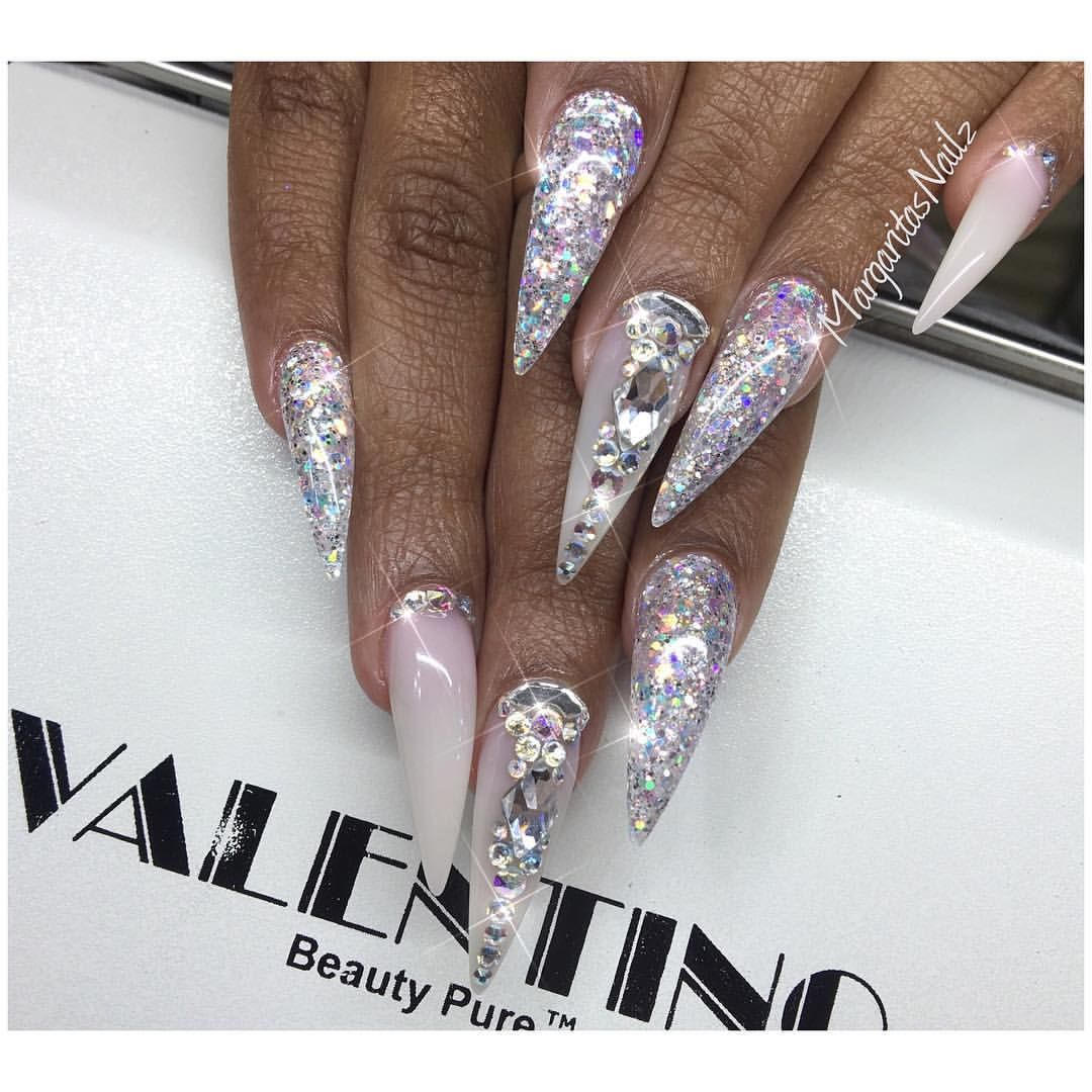 Stiletto Nail Art 2013: White Ombré And Glitter Stiletto Nails Swarovski Crystals