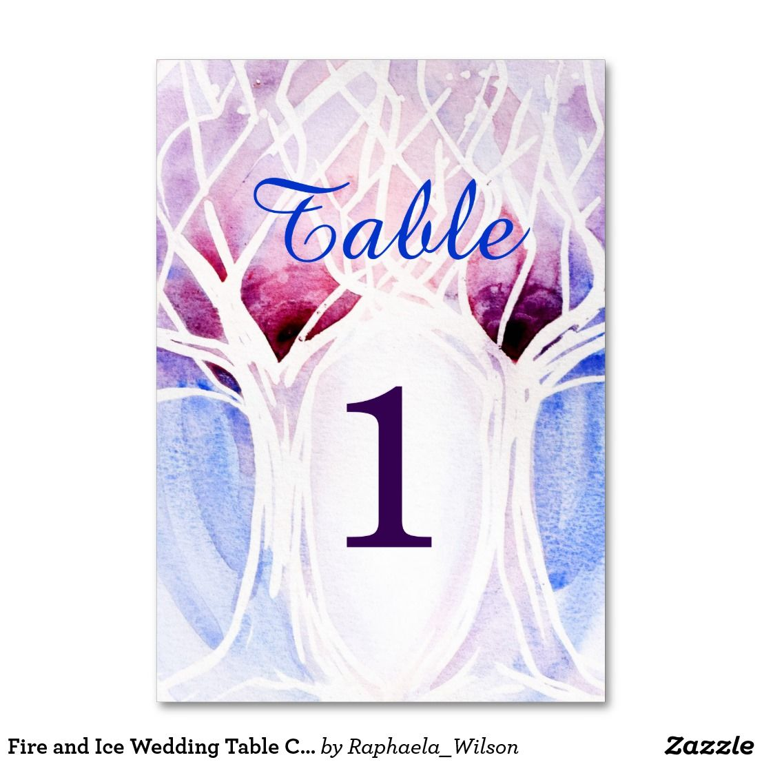 Fire and Ice Wedding Table Cards | Blue and Red Watercolor | Fire ...