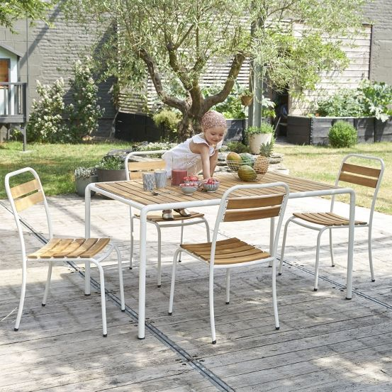 Salon de jardin en bois et métal #mobilierdejardin #mobilieroutdoor ...