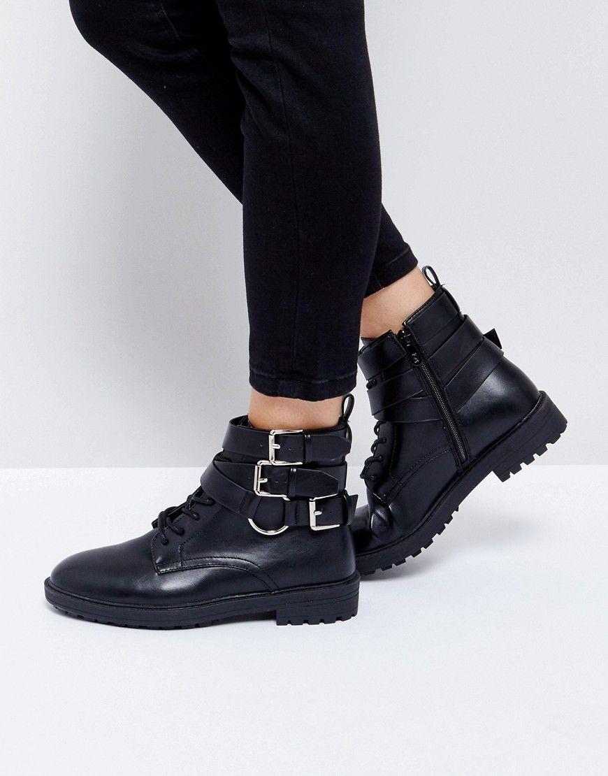 4fd01e5bdb06 RAID Helena Black Multi Buckle Grunge Flat Ankle Boots - Black ...