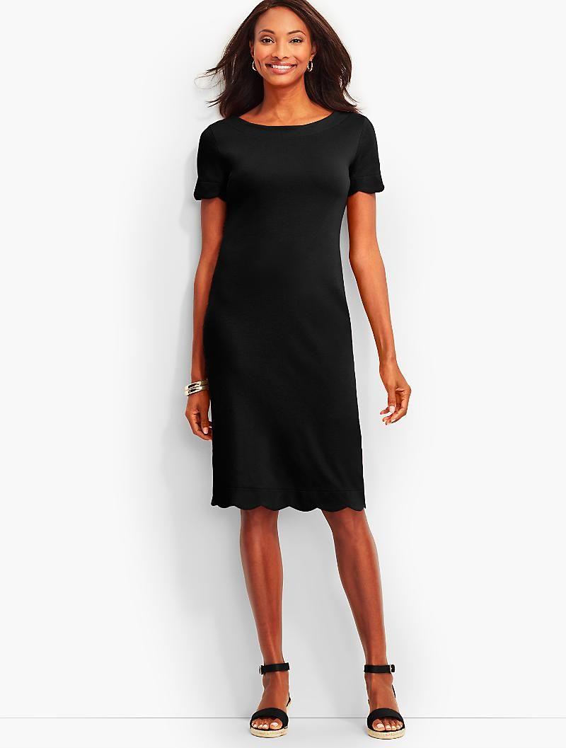 Scalloped Cotton Shift Dress Talbots Dresses Cotton Shift Dress Womens Dresses [ 1057 x 800 Pixel ]