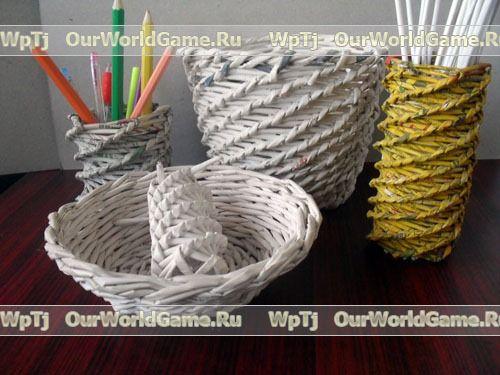Спиральное плетение из газетных трубочек.
