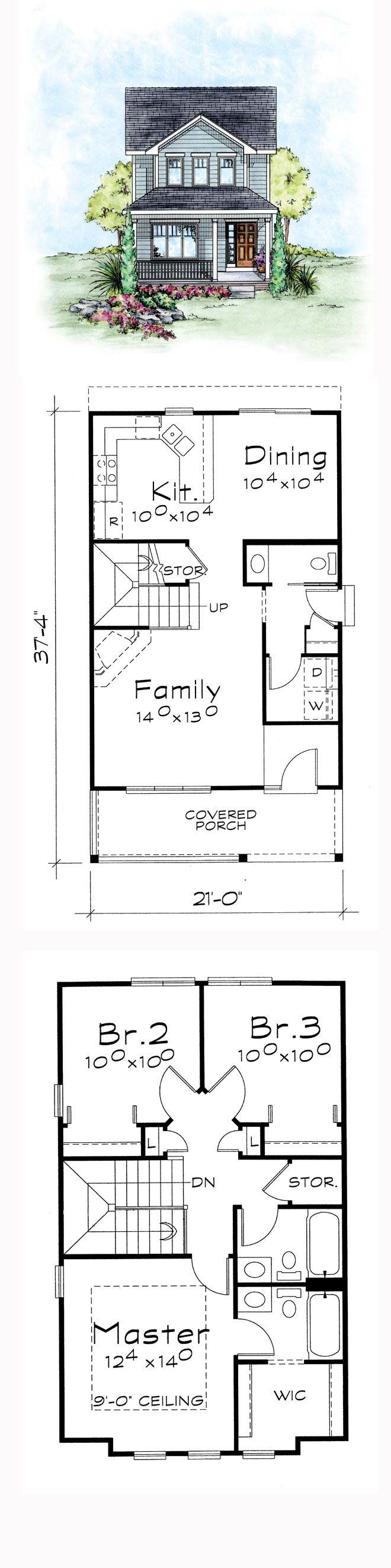 Traditional house plan 66715 narrow lot house plans for Floor plans narrow lot