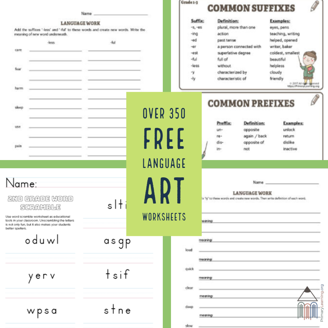 Over 350 Free Language Art Worksheets S