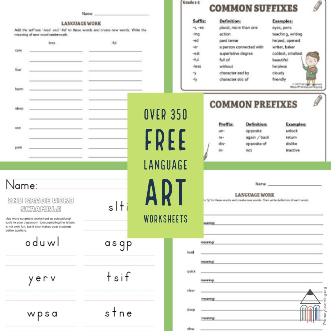Over 350 Free Language Art Worksheets S