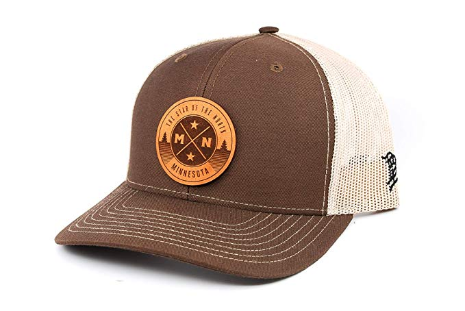 Branded Bills Minnesota The North Star Leather Patch Hat Curved Trucker Osfa Brown Tan At Amazon Men S Clothing Store Leather Patches Leather Hats For Men