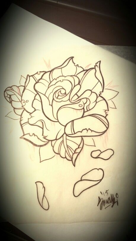 Neo traditional rose tattoo design | My Artwork ...