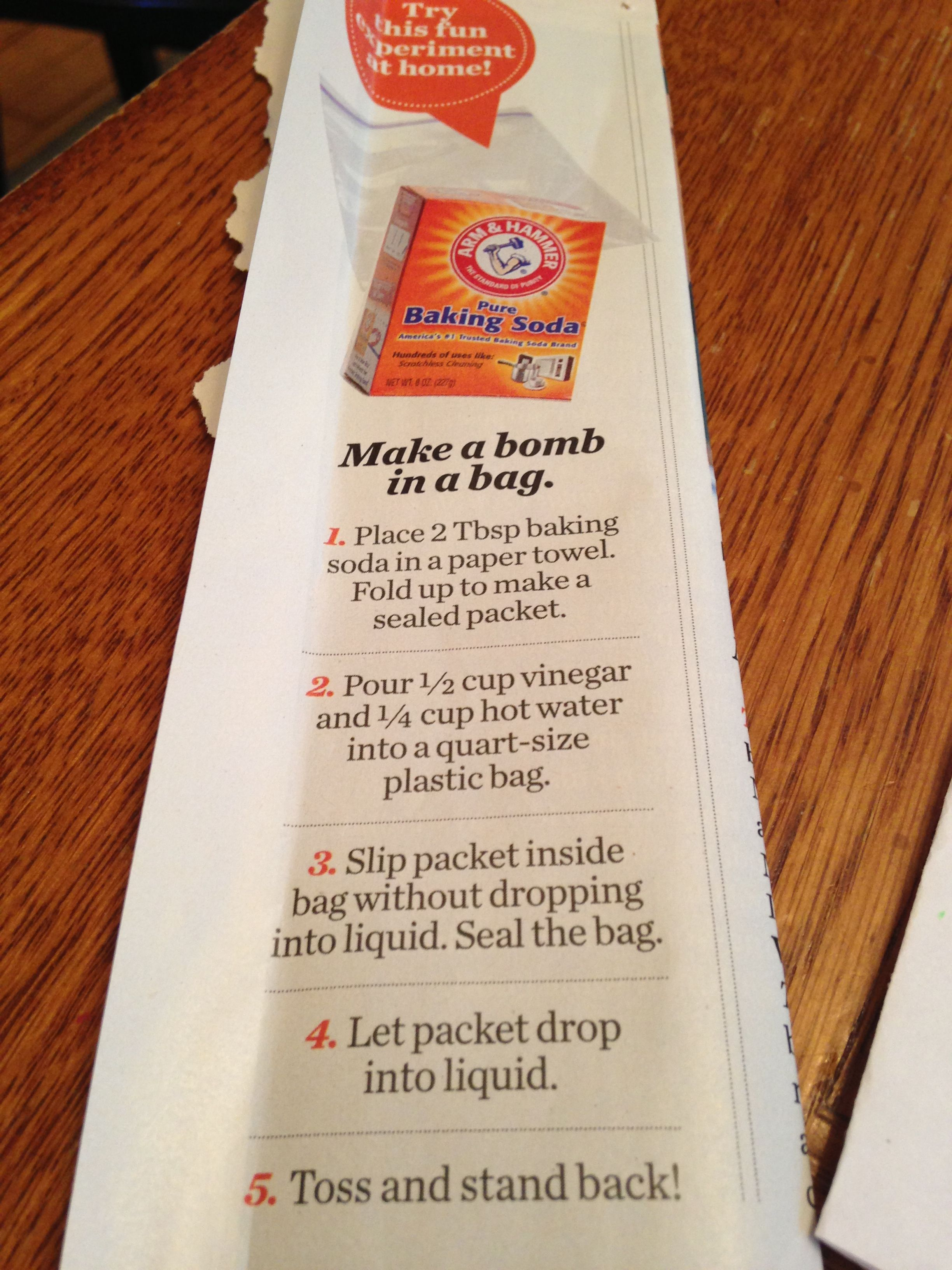 Make Kid Safe In A Bag With Baking Soda And Vinegar