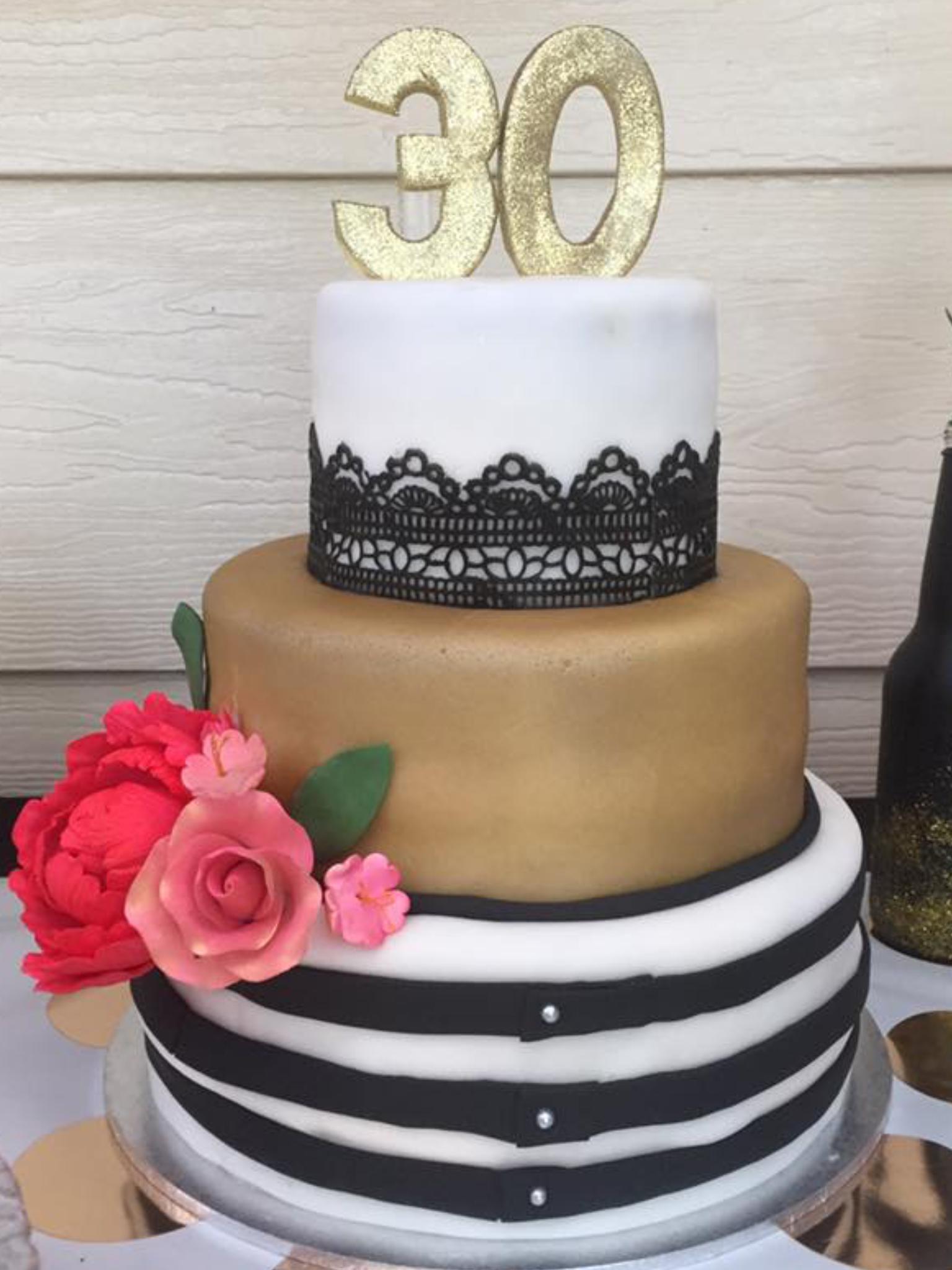 Elegant Black White And Gold 30th Birthday Cake My Cakes