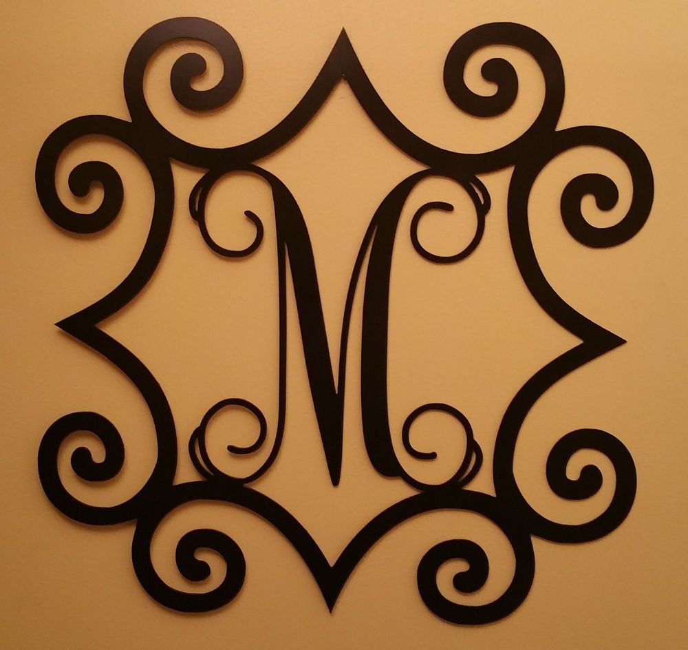 single initial steel monogram with wrought iron inspired With wrought iron outdoor monogram letters