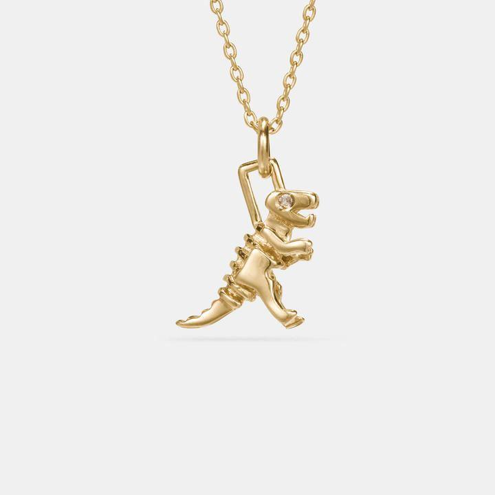 Coach Mini 18K Gold Plated Tea Rose Necklace Gold qdWdJrppt3