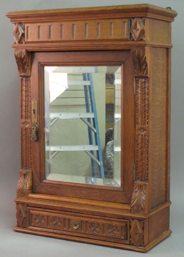 227 Victorian Oak Medicine Cabinet With Beveled Mirror On Liveauctioneers