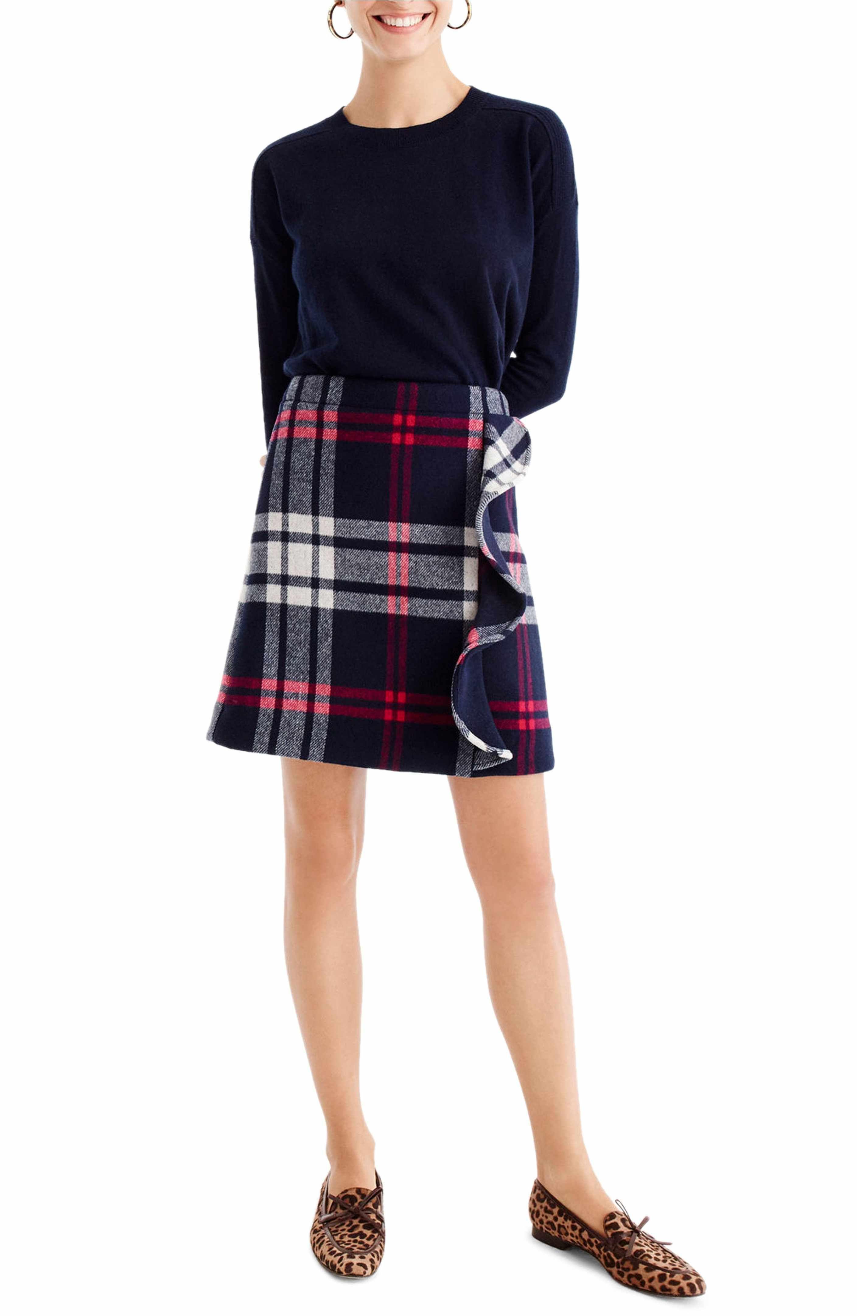 3ab9baf47 Main Image - J.Crew Plaid Ruffle Double-Serge Wool Mini Skirt (Regular &  Petite)