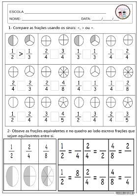 Comparando frações. Matemática | Matemática | Pinterest | Mathematik ...