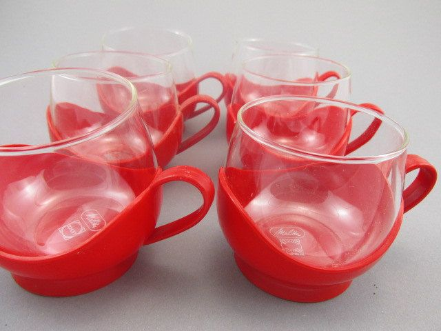 Vintage Melitta Drink Up Cups Glass Cups With Holders Red