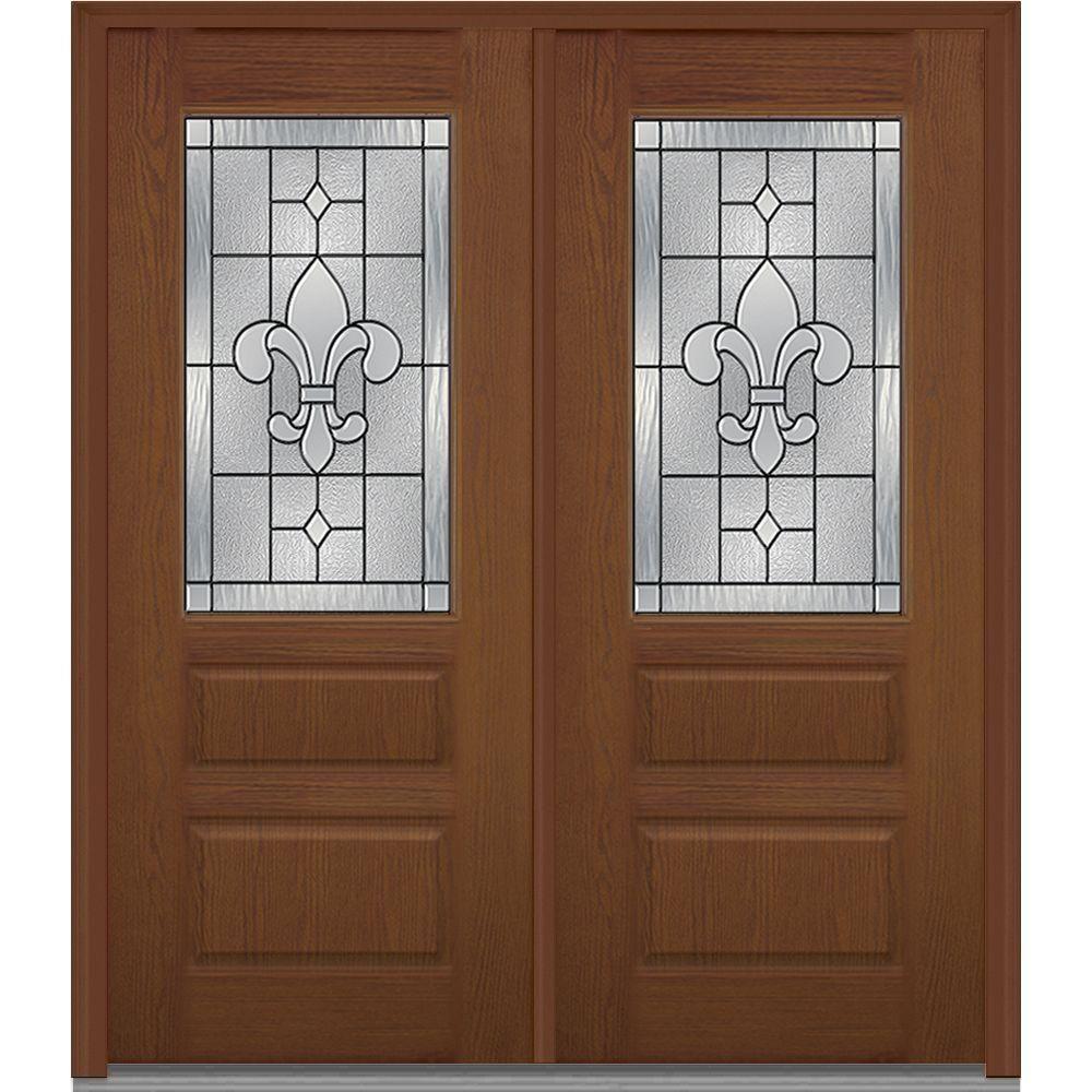 MMI Door 72 in. x 80 in. Carrollton Left-Hand Decorative 1/2 Lite 2 ...
