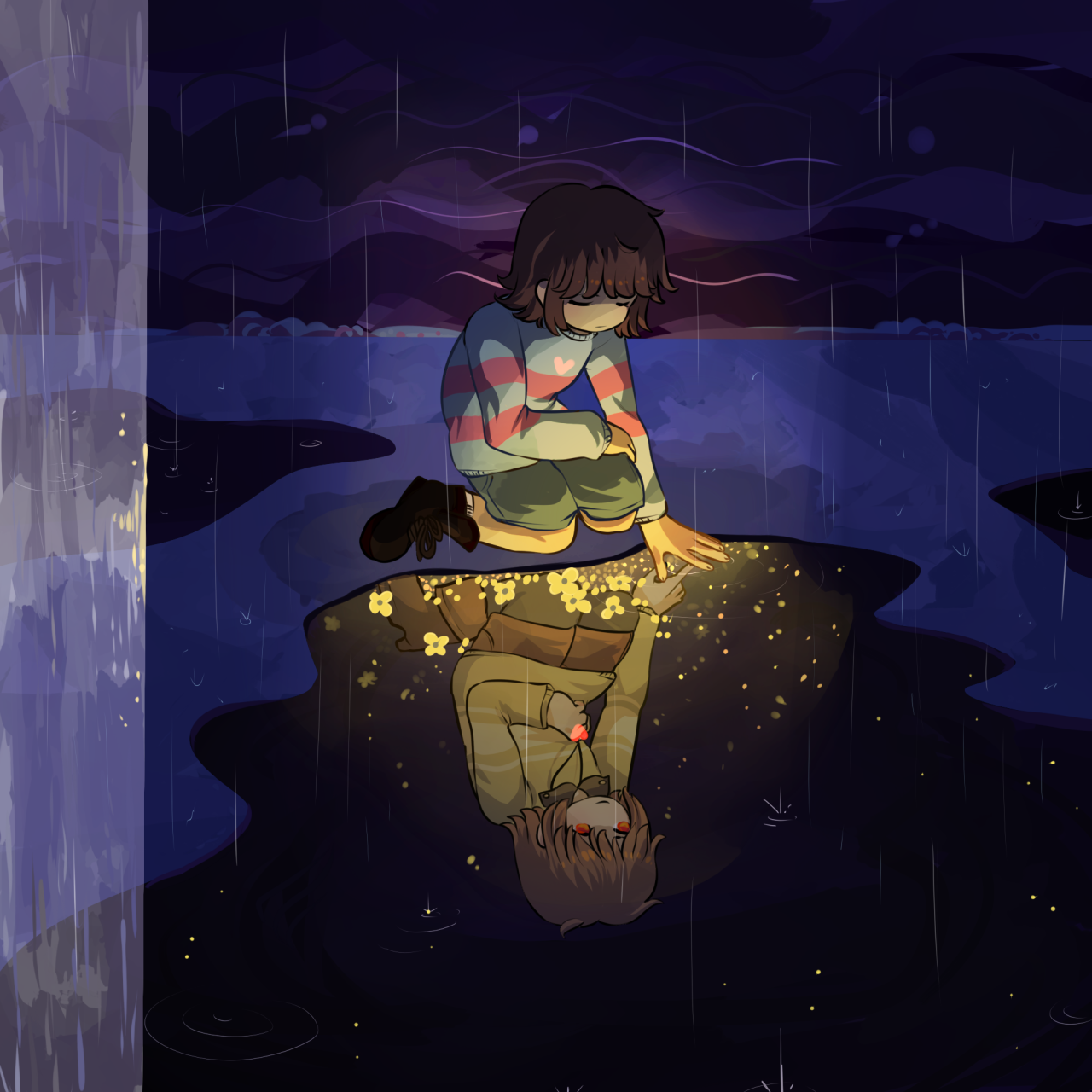 undertale frisk in waterfall - photo #20