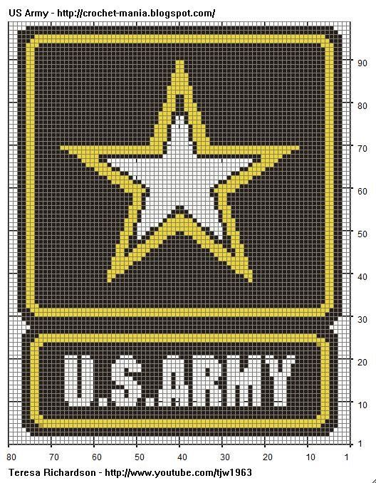 Painted Tapestry Crochet US Army Logo for Chart Tapestry