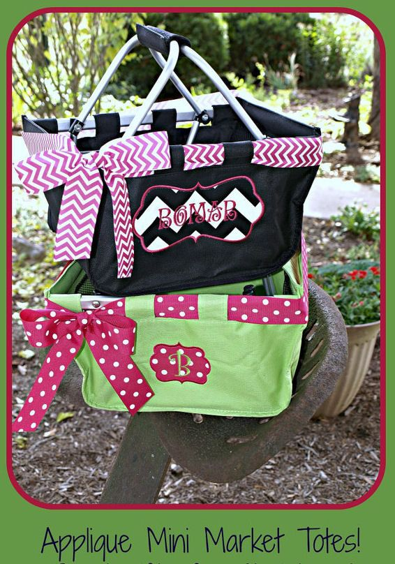 Monogrammed Mini Market Tote easter basket by TheFloatinTurtle, $25.95