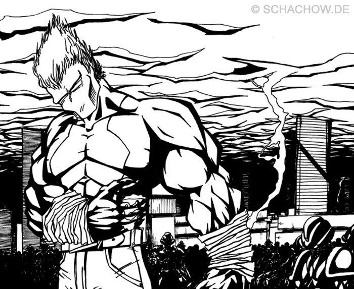 Superheld Zeichnung Tusche