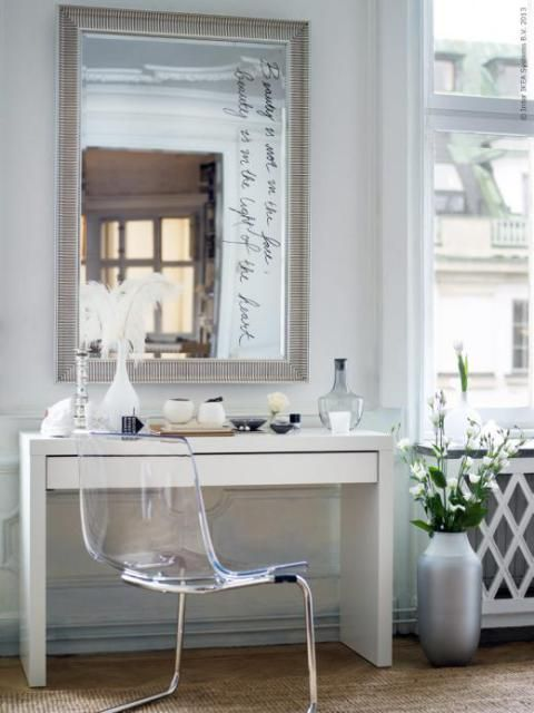 Gorgeous Bedroom Vanity Composed Of Ikea Songe Mirror Over Malm Dressing Table Paired With Tobias Chair Make Up Filled Salong