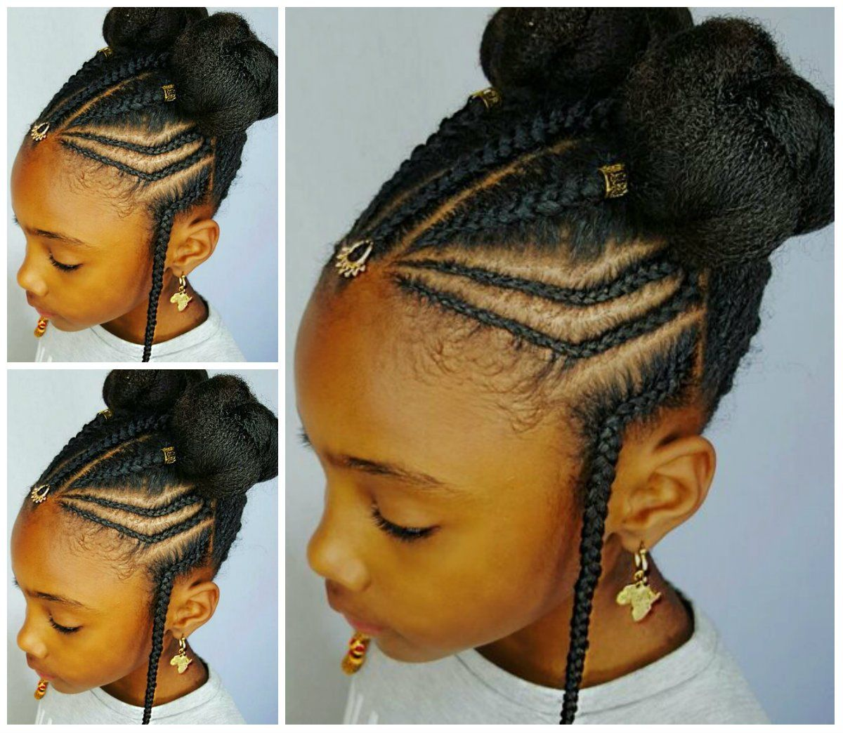 braided cornrows with buns for little black girls hadds