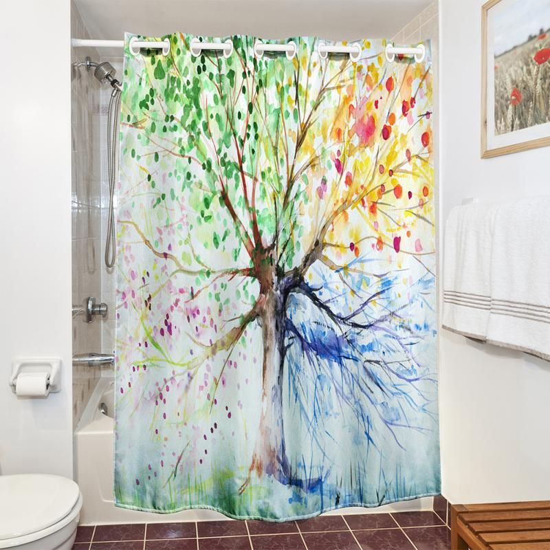 SenHome Colorful Tree Four Seasons Polyester Waterproof Shower Curtain Bathroom Decor Affiliate