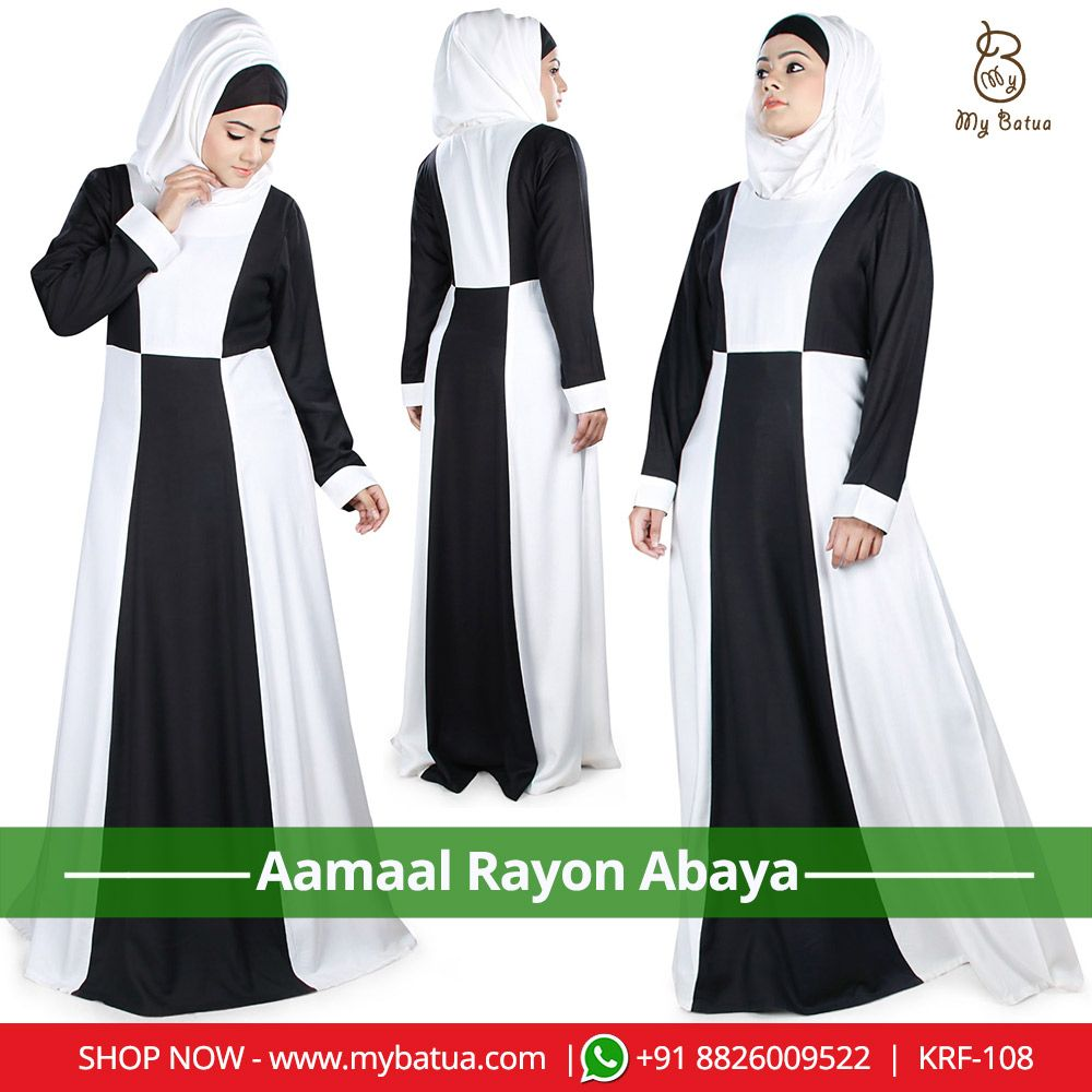 c474674e12ee32 Black and white Aamaal Rayon Abaya