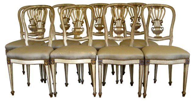 Italian Carved Vase-Back Chairs, S/8