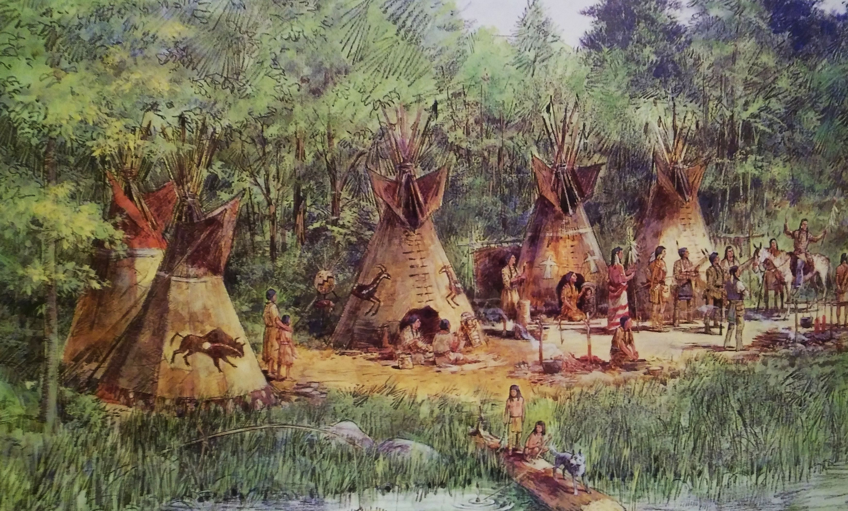 Concept painting for the indian village along the banks of