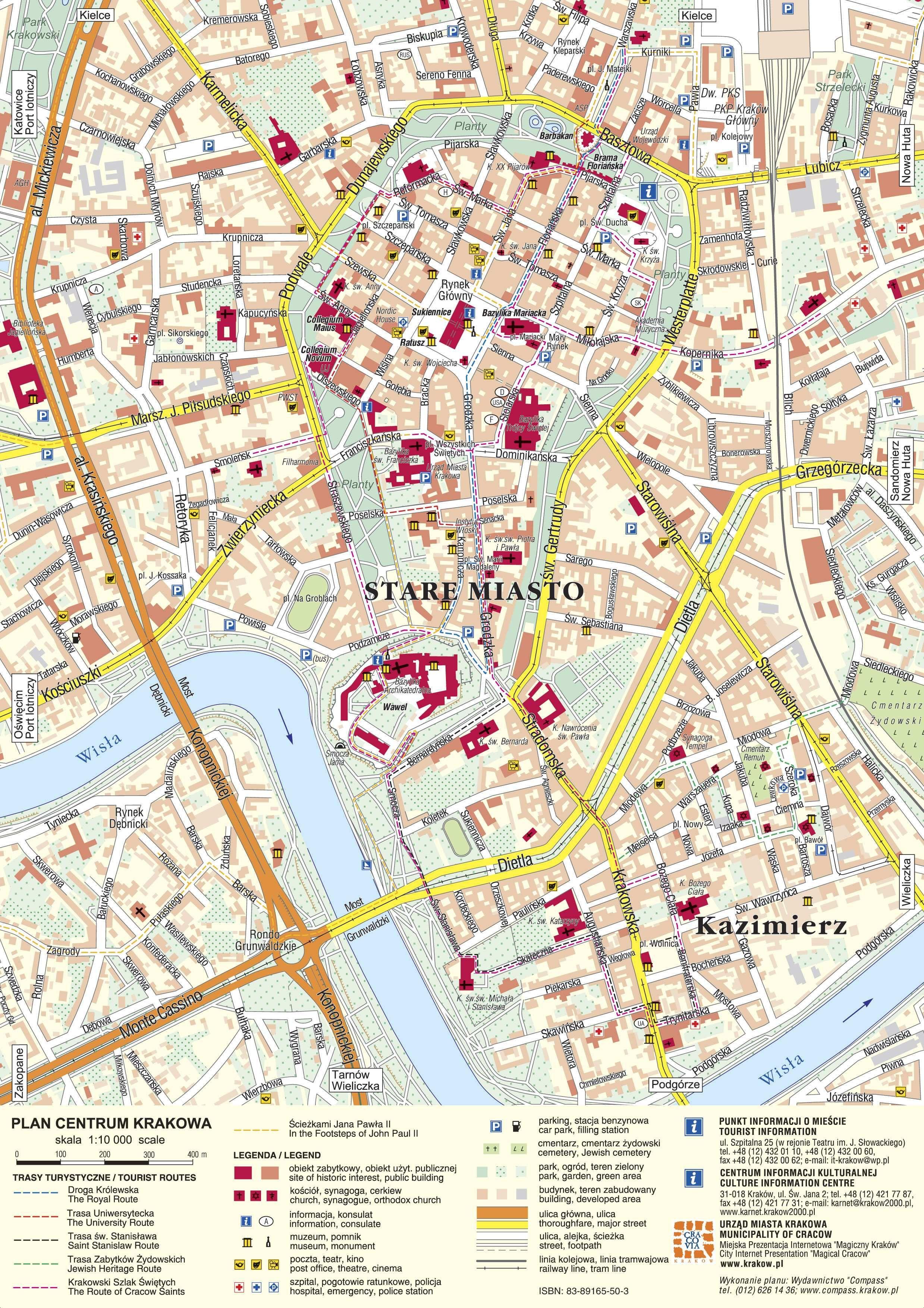 Mapa Turistico De Cracovia Polonia Cracovia Polonia Cracovia