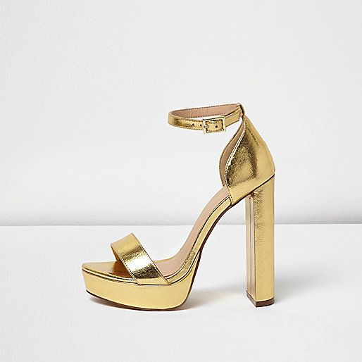 e985621eb67b Gold metallic upper Double strap design Buckled ankle strap Platform block  heel Heel height 13cm