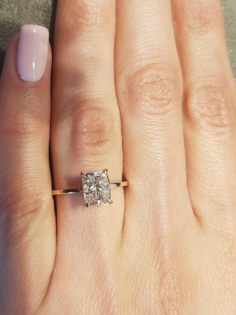1 62 Carats Elongated Cushion Hidden Halo Diamond Engagement Ring In 2020 Elegant Engagement Rings Rose Gold Engagement Ring Rose Engagement Ring