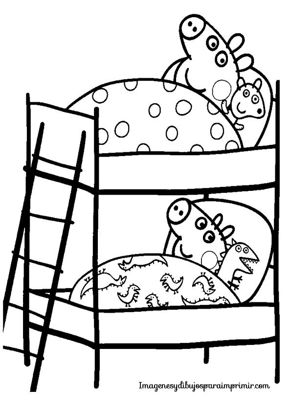 Dibujo de peppa pig y su hermano George para colorear  Dibujos