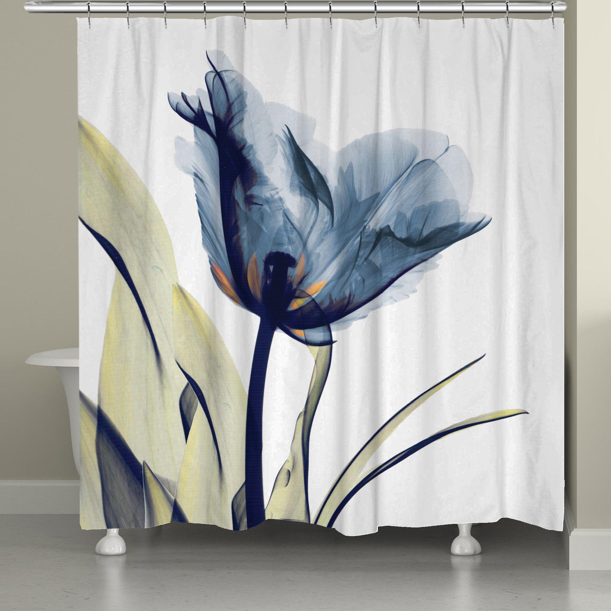 Blue Tulip Trio X Ray Flowers Shower Curtain Tulip Shower